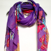 Large Butterfly Spring Summer / Autumn Purple Scarf