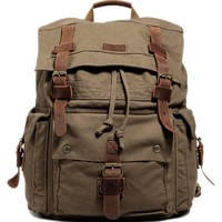 Kattee Men's Canvas Leather Hiking Travel Backpack Rucksack School Bag Army Green