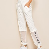Mesh Panel Letter Embroidered Pants
