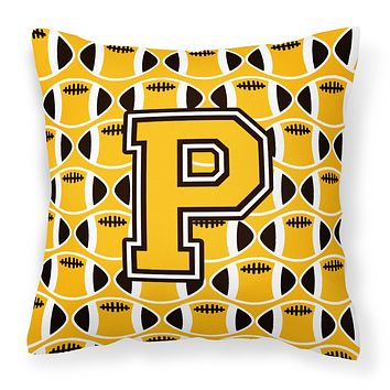 Letter P Football Black, Old Gold and White Fabric Decorative Pillow CJ1080-PPW1414