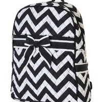 Quilted Chevron Print Large Backpack (Black)