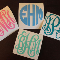 """First Class Shipping-- SINGLE 2"""" Vinyl Personalized Monogram Decal Stickers"""