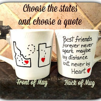 Best friend Mug, State coffee mug,  Best friends forever, Hand-painted Mug, Personalized
