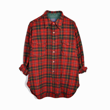 Vintage Pendleton Red Plaid Wool Shirt - Men's 1970s Lumberjack Destroyed Shirt