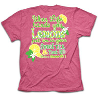 SALE Cherished Girl Funny Lemons Sweet Tea Thank God Christian Bright T Shirt