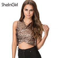 SheInGirl Women Sequined Tank Tops Black/Gold Patchwork Cross Crop Tops Sleath V Neck Sleeveless Party Tanks 2016 free shipping