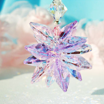 Crystal Suncatcher Car Mirror Charm Swarovski Pink and Purple Crystal Car Ornament Accessory