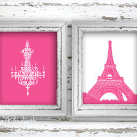 Kids decor Nursery art Pink girls bedroom Paris by EEartstudio