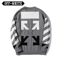Off White Autumn And Winter Arrow Letter Print Long Sleeve Sweater Gray
