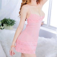 New Sexy lingerie lace Strap Pink erotic lingerie temptation sexy women costumes lingerie set With T-back