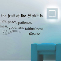 Vinyl Wall Decals Quotes Sticker Home Decor Art Mural Bible Verse Psalm Galatians 5:22 But the fruit of the Spirit is love, joy, peace Z258