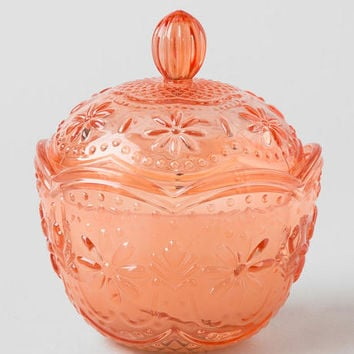 Coral Pressed Glass Candle