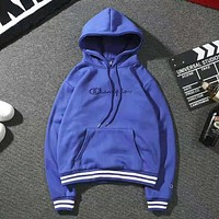 Champion Fashion New Autumn And Winter Bust Embroidery Letter Couple Hooded Long Sleeve Sweater Top Gray