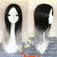 2015 New Arrival 70cm Black to Silver Grey Two Colors Ombre Lolita Wig, Anime Costume Wigs for Party UF099