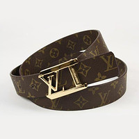 Perfect LV Woman Men Fashion Smooth Buckle Belt Leather Belt Tagre™