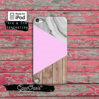 Triangle Geometric Modern Design Marble Wood Print Case iPod Touch 4th Generation or iPod Touch 5th Generation or iPod Touch 6th Gen Rubber