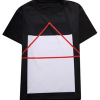 Black Triangle And Square Printed T-shirt