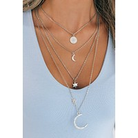 No Distraction Layered Necklace (Silver)