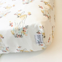 Floral Fawn | Crib Sheet | Woodland Nursery | Baby Girl Bedding | Standard Crib Sheet | Crib Blanket | Changing Pad Cover |Mint and Coral