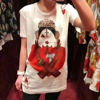 D&G crown red peach Q poker printed round short sleeve cotton white T-shirt girl