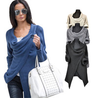 Women Poncho long sleeve 4 colors office Jacket Coat Irregular Cardigan o-neck loose autumn style casual Top outfits QAF488E