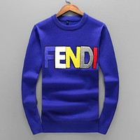 FENDI Autumn Winter Newest Popular Women Men Casual Letter Long Sleeve Sweater Pullover Top Sweatshirt Blue