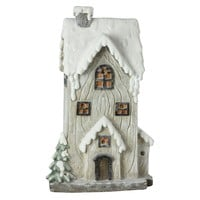 "19"" LED Lighted Battery Operated Rustic Glittered 2-Story House Christmas Decoration"