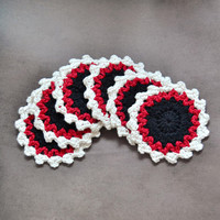 Red White Black Crochet Circle Coasters, Set of Six, Wife Husband Girlfriend Boyfriend Mom Dad Sister Brother Daughter Gift, Her Him
