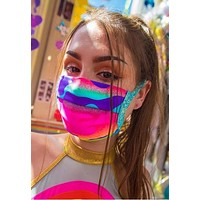 Camouflage Spandex Pleated Face Mask With Filter - J Valentine FF552