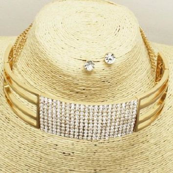 """18"""" gold crystal hinged choker collar necklace .25"""" earrings 1.25"""" wide"""