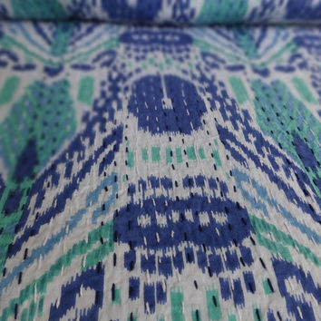 Multi Pattern Ikat Print Kantha Quilt, Queen Size Designer Kantha Bedding, Blue & Green Color Theme, Indian Cotton Bedspread, Decorative