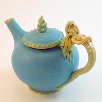Teapot  Mermaid Spikey Tea Pot Turquoise Chartreuse by skybirdarts