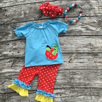 baby girl blue capri set red with white polka dot capri set with matching bow