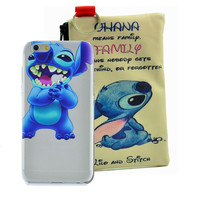 Disney Lilo & Stitch Holding Logo Clear Case For Apple Iphone + Pouch (iPhone 5/5s, 6/6s. 6/6s PLUS)