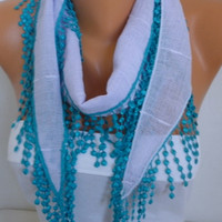 ON SALE - 50% OFF - Scarf -- Shawl - Cowl with Teal Lace Edge - fatwoman