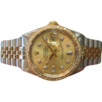 MENS ROLEX DATEJUST DIAMONDS TWO-TONE YELLOW GOLD WATCH