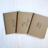 Notebook: Flowers, Woodland, Feathers, Nature, For Her, For Him, Kids, Unique, Gift, Jotter, Journal, Small Notebook, New Years, Brown