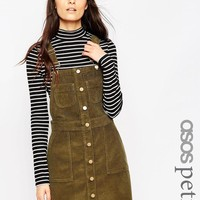 ASOS Petite | ASOS PETITE Denim Cord Mini Button Down Pinafore Dress in Olive Green at ASOS