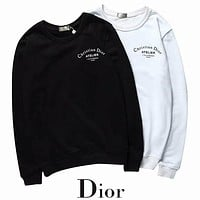DIOR New fashion autumn and winter bust side letter print and back letter print loose leisure long sleeve top sweater two color