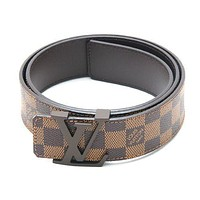 LOUIS VUITTON LV Initial Initiales Damier Ebene Canvas Leather Belt SIZE 90 40mm
