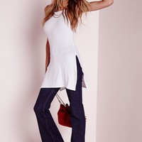 Missguided - Ribbed Split Side Tunic White
