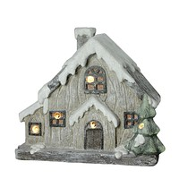 "12"" LED Lighted Battery Operated Rustic Glittered House Christmas Decoration"
