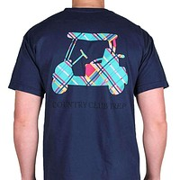 Madras Golf Cart Tee Shirt in Navy by Country Club Prep