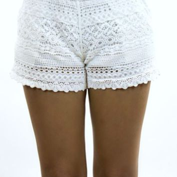 Debut | Lace Down Shorts in White