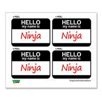 Ninja Hello My Name Is - Sheet of 4 Stickers
