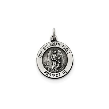 925 Sterling Silver Guardian Angel Medal Charm Pendant - 20mm
