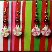 Choice of Christmas Candy Earrings Peppermint Dangles Holiday Glitter Jewelry