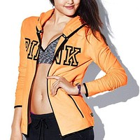 PINK Victoria's Secret Letter Print Hooded Top Jacket Coat Sweatshirt