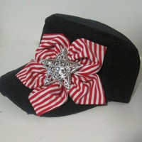 Women's Navy Distressed Cadet Military Hat with Red and White Petal Flower and Star Accent Patriotic Hat Caps Fourth of July Hat Accessories