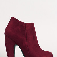 Bamboo Mozza-02 Suede Chunky Heel Round Toe Ankle Bootie